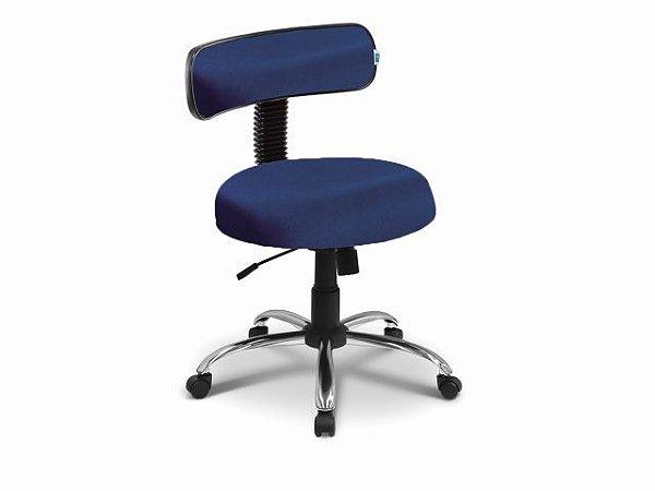 Cadeira Mocho - Com Encosto - Base Cromada - Arktus azul escuro