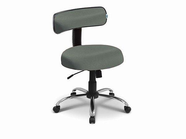 Cadeira Mocho - Com Encosto - Base Cromada - Arktus verde