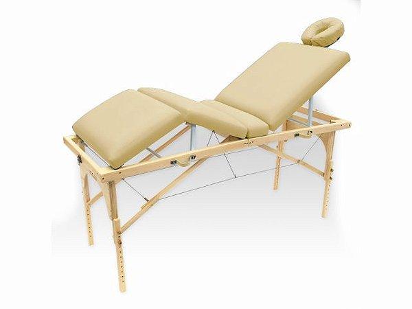 Maca De Massagem Portátil Com Altura Regulável E Orifício Para Fisioterapia E Estética Canopus - Legno bege