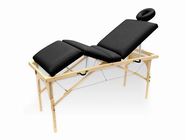 Maca De Massagem Portátil Com Altura Regulável E Orifício Para Fisioterapia E Estética Canopus - Legno preto