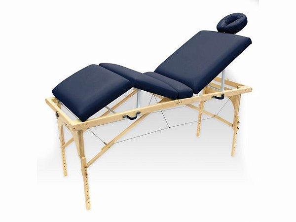 Maca De Massagem Portátil Com Altura Regulável E Orifício Para Fisioterapia E Estética Canopus - Legno azul marinho
