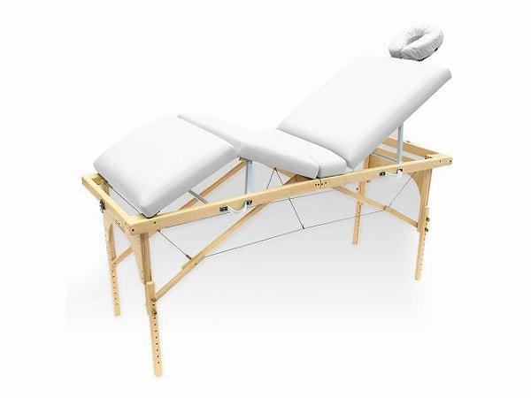 Maca De Massagem Portátil Com Altura Regulável E Orifício Para Fisioterapia E Estética Canopus - Legno branco fosco