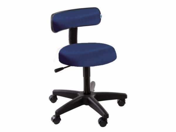 Cadeira Mocho com Encosto - 5010 - Base Preta - Arktus azul escuro