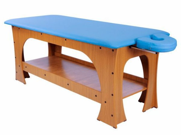 Maca de Massagem Bella - Fixa - 80cm de Largura - Base Marrom Escuro - Arktus azul claro