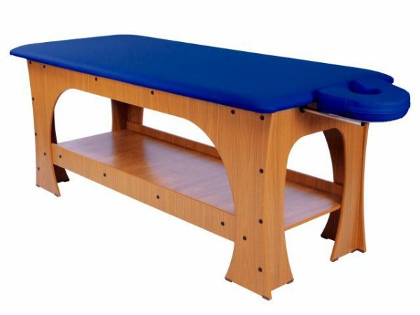 Maca de Massagem Bella - Fixa - 80cm de Largura - Base Marrom Escuro - Arktus azul escuro