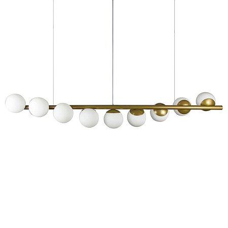 Lustre Pendente Figo com 9 Globos Esfera de Vidro - Ouro