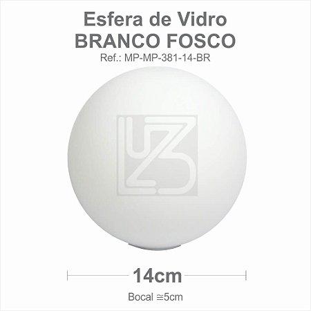 VIDRO ESFERA S/ COLARINHO 14CM BOCAL 5CM - BRANCO FOSCO