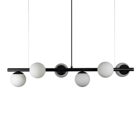 Lustre Pendente Figo com 6 Globos Esfera de Vidro - Preto