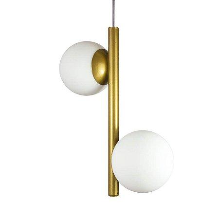 Lustre Pendente Figo com 2 Globos Esfera de Vidro - Ouro