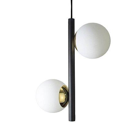 Lustre Pendente Figo com 2 Globos Esfera de Vidro - Preto/Dourado