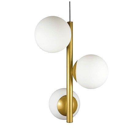 Lustre Pendente Figo com 3 Globos Esfera de Vidro - Ouro