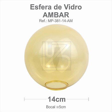 VIDRO ESFERA S/ COLARINHO 14CM BOCAL 5CM - AMBAR