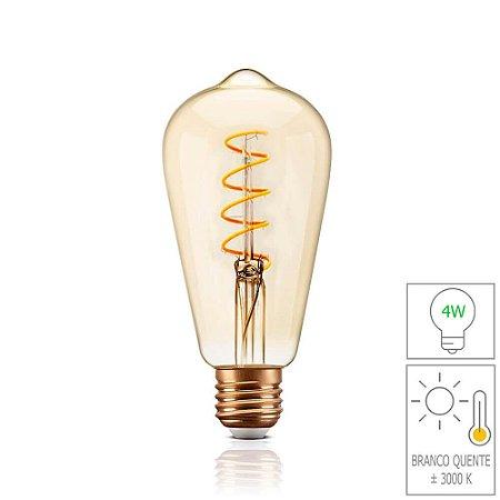 Lâmpada Filamento LED Retrô  - ST64 SPIRAL - BIVOLT