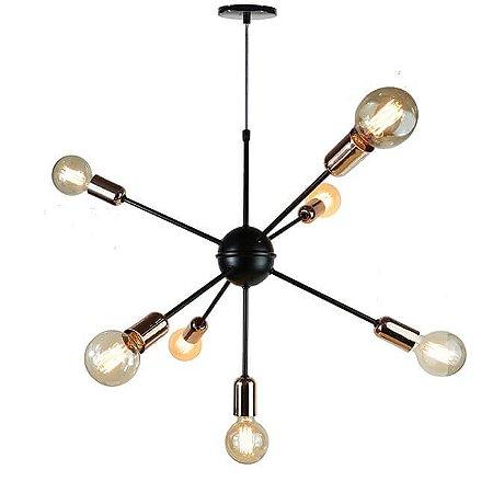 Lustre Pendente para 7 lâmpadas - Sputnik - Preto com Cobre