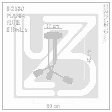 Plafon Fluir 3 hastes - PRETO