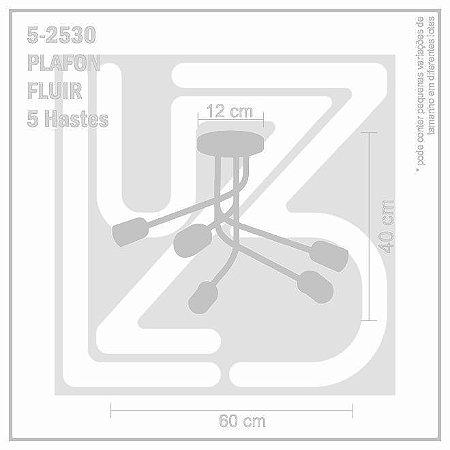 Plafon Fluir 5 hastes - PRETO
