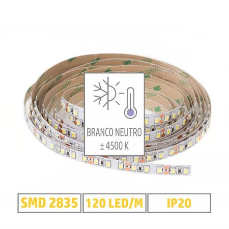 Fita LED 2835 - 4500K - Branco Neutro - 5m