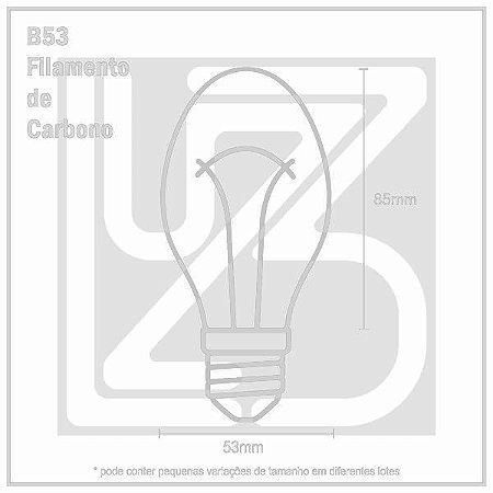 Lâmpada Filamento de Carbono BALÃO - B53 - 220V