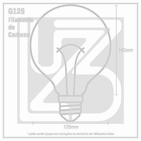 Lâmpada Filamento de Carbono GLOBO - G125 - 220V - 60W