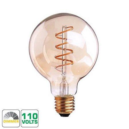 Lâmpada Filamento LED Retrô - G80 SPIRAL - DIMERIZÁVEL 110V