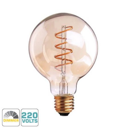 Lâmpada Filamento LED Retrô - G80 SPIRAL - DIMERIZÁVEL 220V