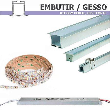 Kit Perfil EMBUTIR GESSO + Fita LED + Fonte