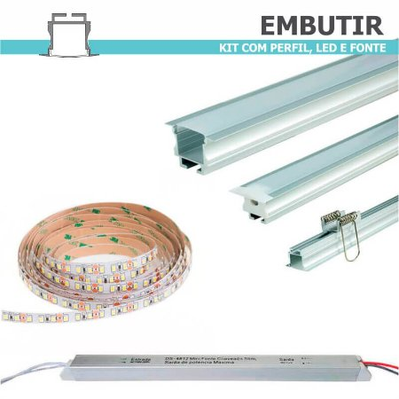 Kit Perfil EMBUTIR + Fita LED + Fonte