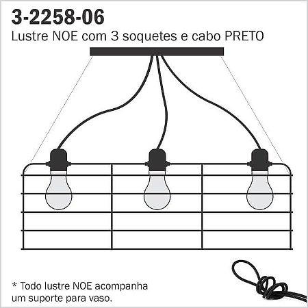 Lustre Aramado NOE - 3 Cabos Pretos