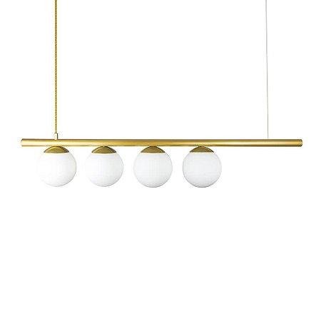 Lustre Pendente Figo com 4 Globos Esfera de Vidro - Ouro