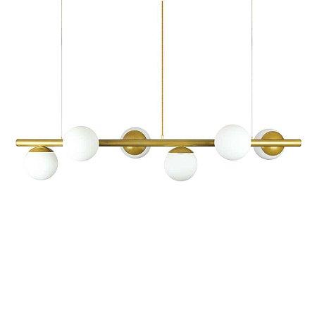 Lustre Pendente Figo com 6 Globos Esfera de Vidro - Ouro