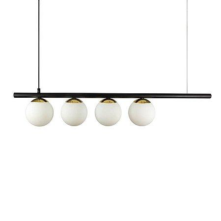 Lustre Pendente Figo com 4 Globos Esfera de Vidro - Preto/Dourado