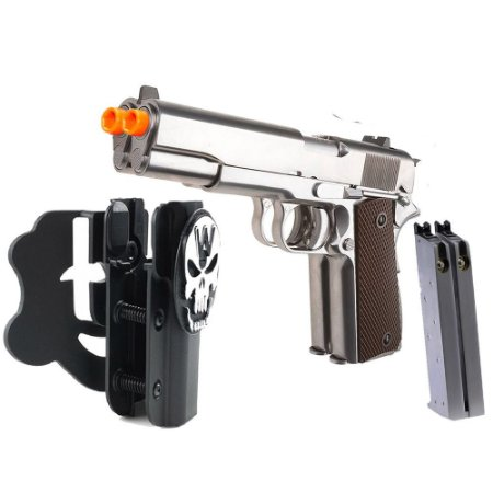 Pistola de Airsoft GBB WE 1911 Cano Duplo Cromada KIT Cal6mm