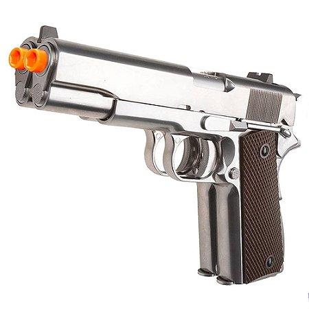 Pistola de Airsoft GBB WE 1911 Cano Duplo Cromada Cal 6mm