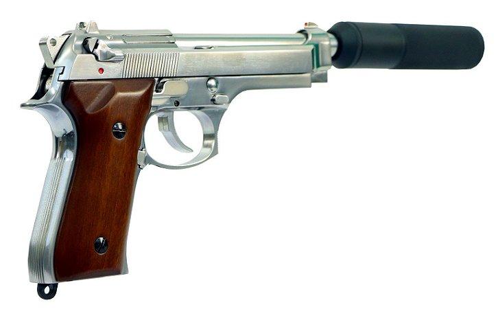 Pistola de Airsoft GBB SRC SR92 SILVER WOOD GB-0709W-SP Cal. 6mm