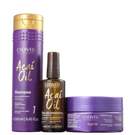 Kit Acai Oil Cadiveu - Shampoo 250ml, Oleo 60ml e Mascara 200g