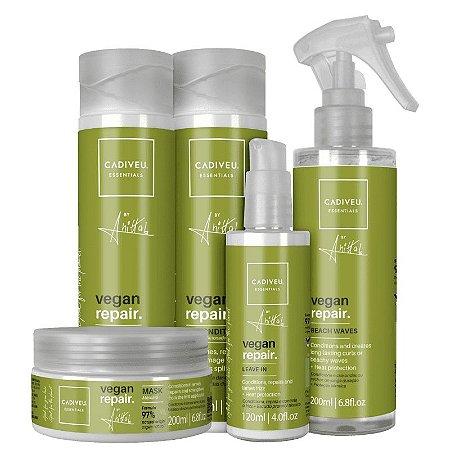 Kit Vegan Repair Anitta Cadiveu Completo - Shampoo, Condicionador, Mascara, Beach Waves e Leave in
