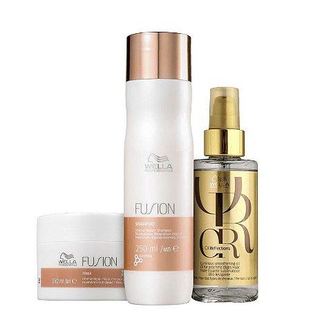 Kit fusion reflections Wella - shampoo 250ml mascara 150ml e finalizador 95ml