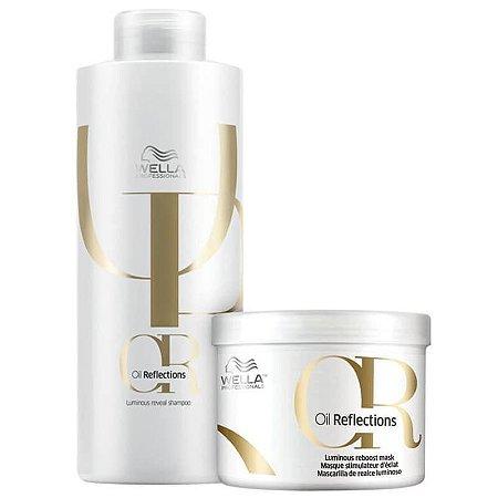Kit Oil Reflections Wella - Shampoo 1L e mascara 500ml