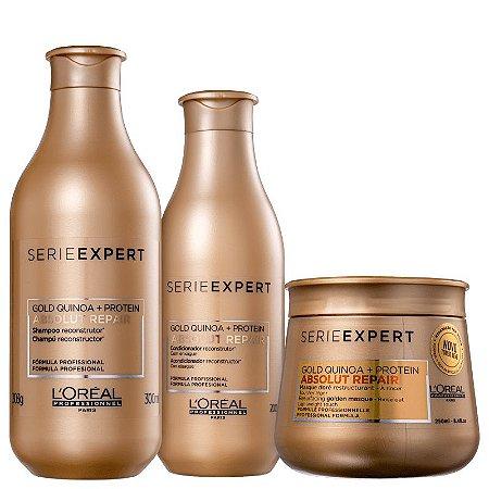Kit Absolut Repair Gold Quinoa L'oreal - Shampoo 300ml Condicionador 200ml e Mascara GoldenLight 250ml