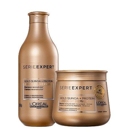 Kit Absolut Repair Gold Quinoa L'oreal - Shampoo 300ml e  Mascara 250ml