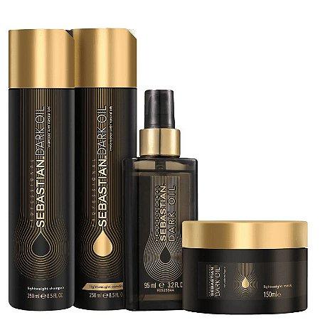 Kit Dark Oil Sebastian - Shampoo e condicionador 250ml  mascara 150g  e óleo reparador 95ml