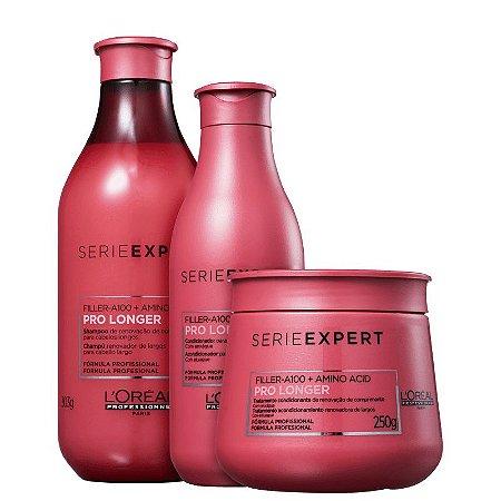 Kit Pro Longer L'oreal - Shampoo 300ml Condicionador 200ml e Mascara 250g