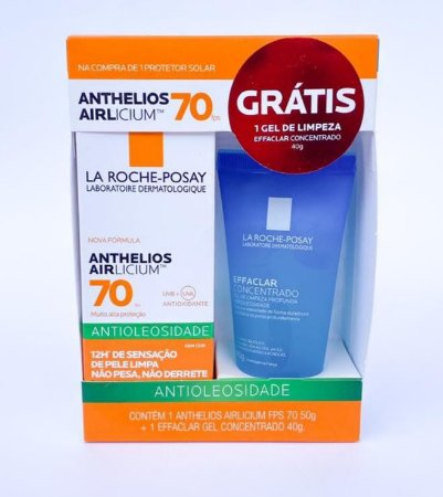 Promo Pack - Anthelios Airlicium FPS 70 + Effaclar Concentrado - Protetor Solar Facial 50ml e Sabonete Concentrado 40g