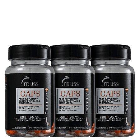 Kit Pharmacy+ Caps Truss - Capsulas de crescimento capilar (3x de 30 capsulas)