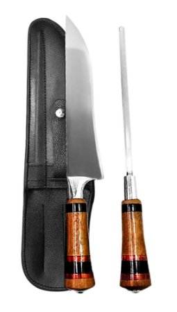 Faca Inox ANTIGA 2308 com Chaira e Bainha 08 polegadas