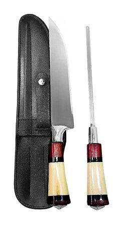 Faca Inox SOLINGE 2308 com Chaira e Bainha 08 polegadas