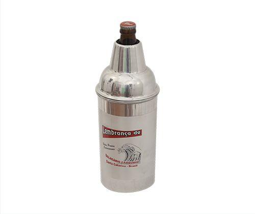 Porta Litro Alumínio Escovado Duplo