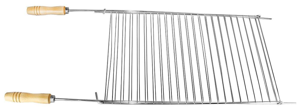 Grelha Dupla Reta 92x34,5 cm aço cr - cabo 15 cm
