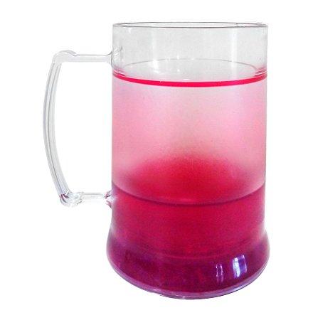 Caneca Injetada Transparente com Gel Vermelho 340 ml