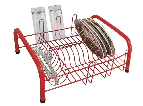 Escorredor Louça Tubular Vermelho 41x35,5cm (LxP) -